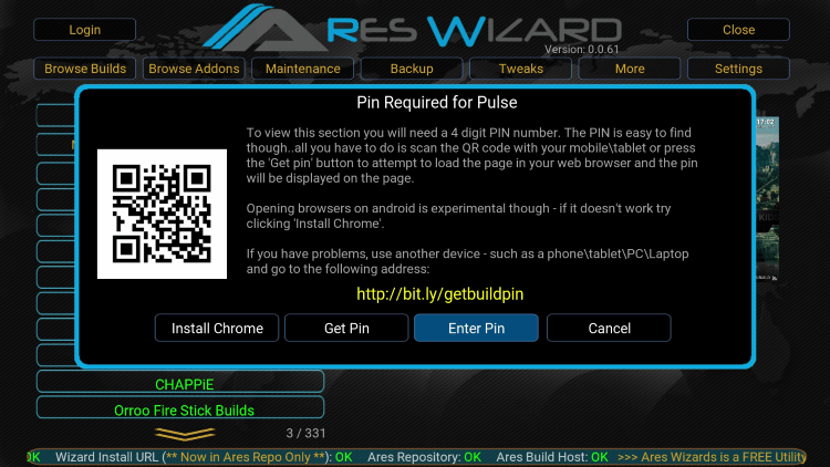 Install Ares Wizard on Kodi 18 3, 18 1, 17 6, and Get Pin using http