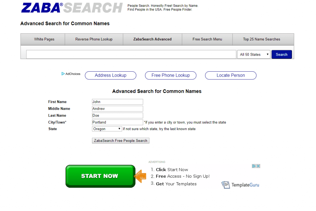 Zabasearch, Best people search engine, People search engine